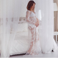 Off White Matenity Gown Photo Shoot Maternity Photography Props Lace Dresses Floor Length Lace Maternity Maxi