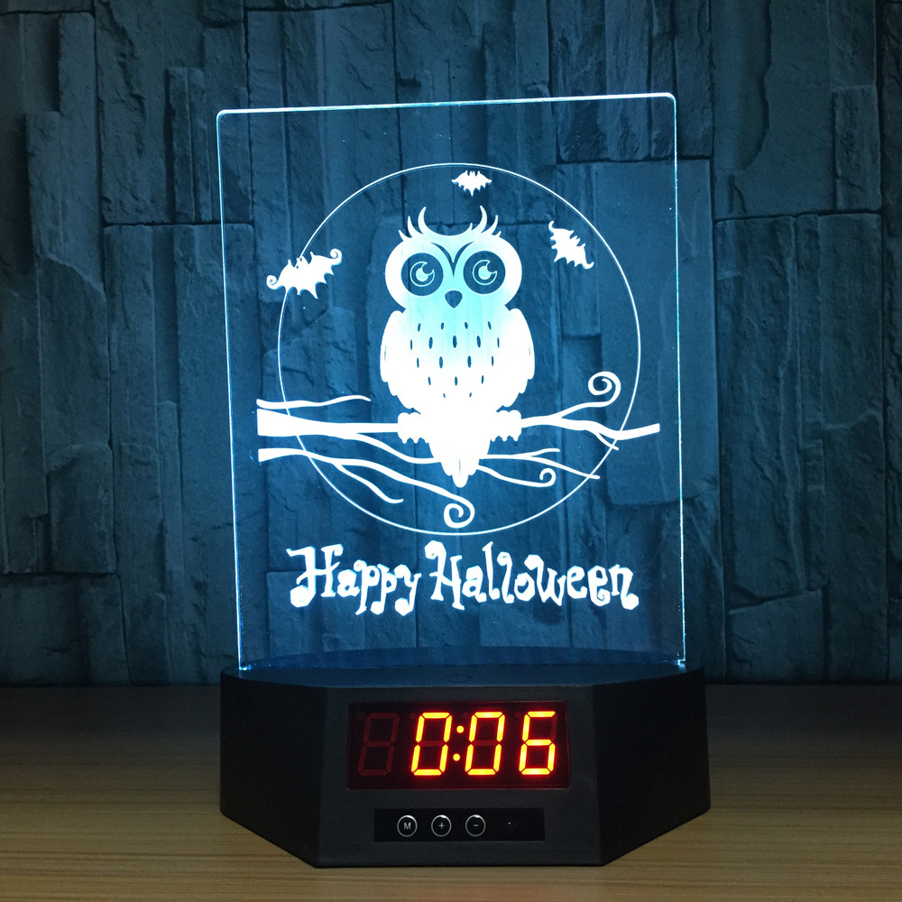 Animal Series Owl Touch and Remote Charging Stand with Calendar Acrylic Table Lamp 3D Graphic Decorative Lights IY803991-17