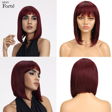 Remy Forte Short Human Hair Wigs 100% Remy Brazilian Hair Wigs Straight With Bangs TT1B/99J Ombre Human Hair Wigs For Women 1pc new 22cm women fashion natural brown 100% human hair straight short wigs au23