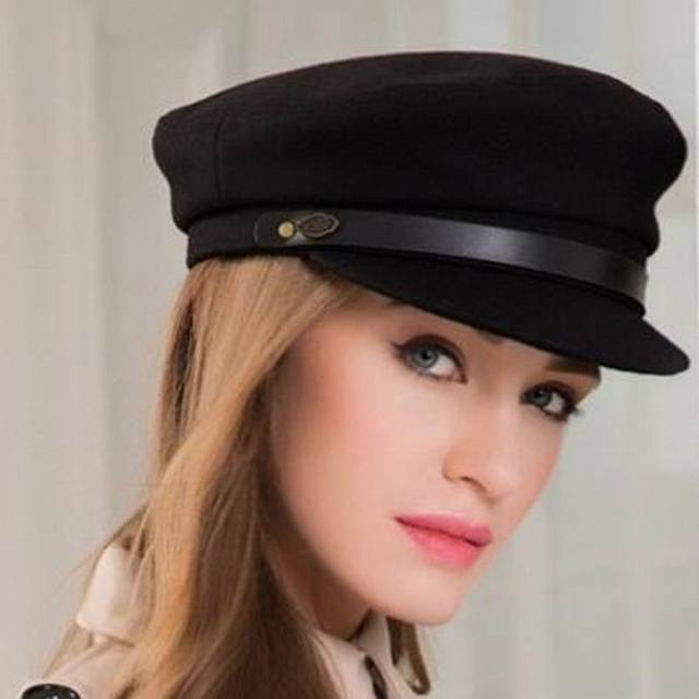 3dd57db4c Winter Fashion Women Vintage Wool Black Military Hats Caps For Female  Casual Casquette Bone Yacht Captain Hats M9010