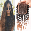 6A Cheap Mongolian Lace Closure Bleached knots Virgin Human Hair Closure  Kinky Curly Lace Closure Free Middle 3 Part Closure