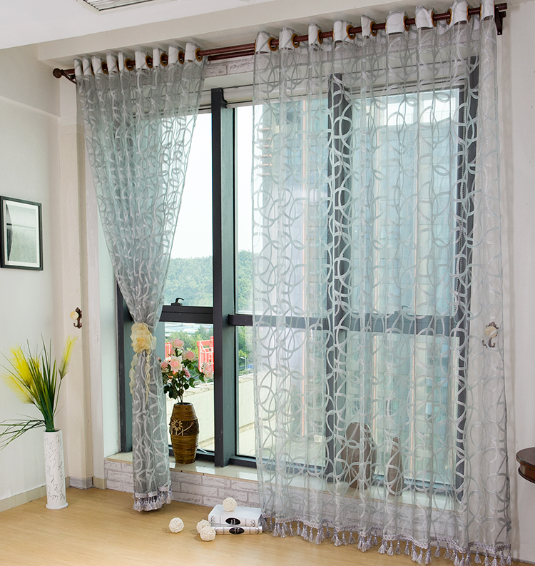 Curtain For Balcony: Circle Light Gray Balcony Window Screening Translucidus