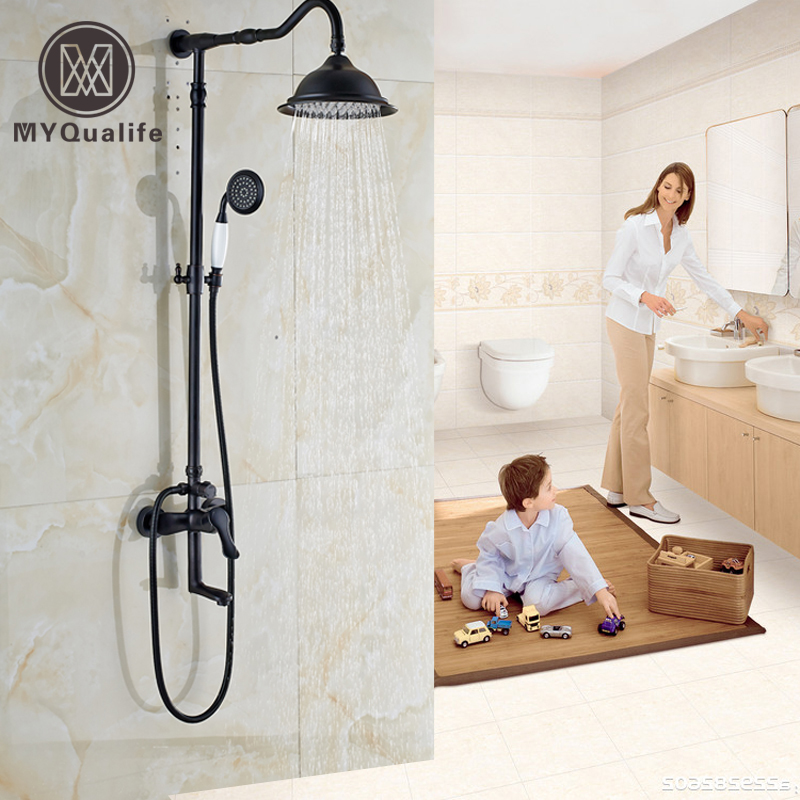 Oil Rubbed Bronze In-wall Outdoor Shower Faucet Set Single Lever with Swivel Rotate Tub Spout Bath Shower Mixer Taps
