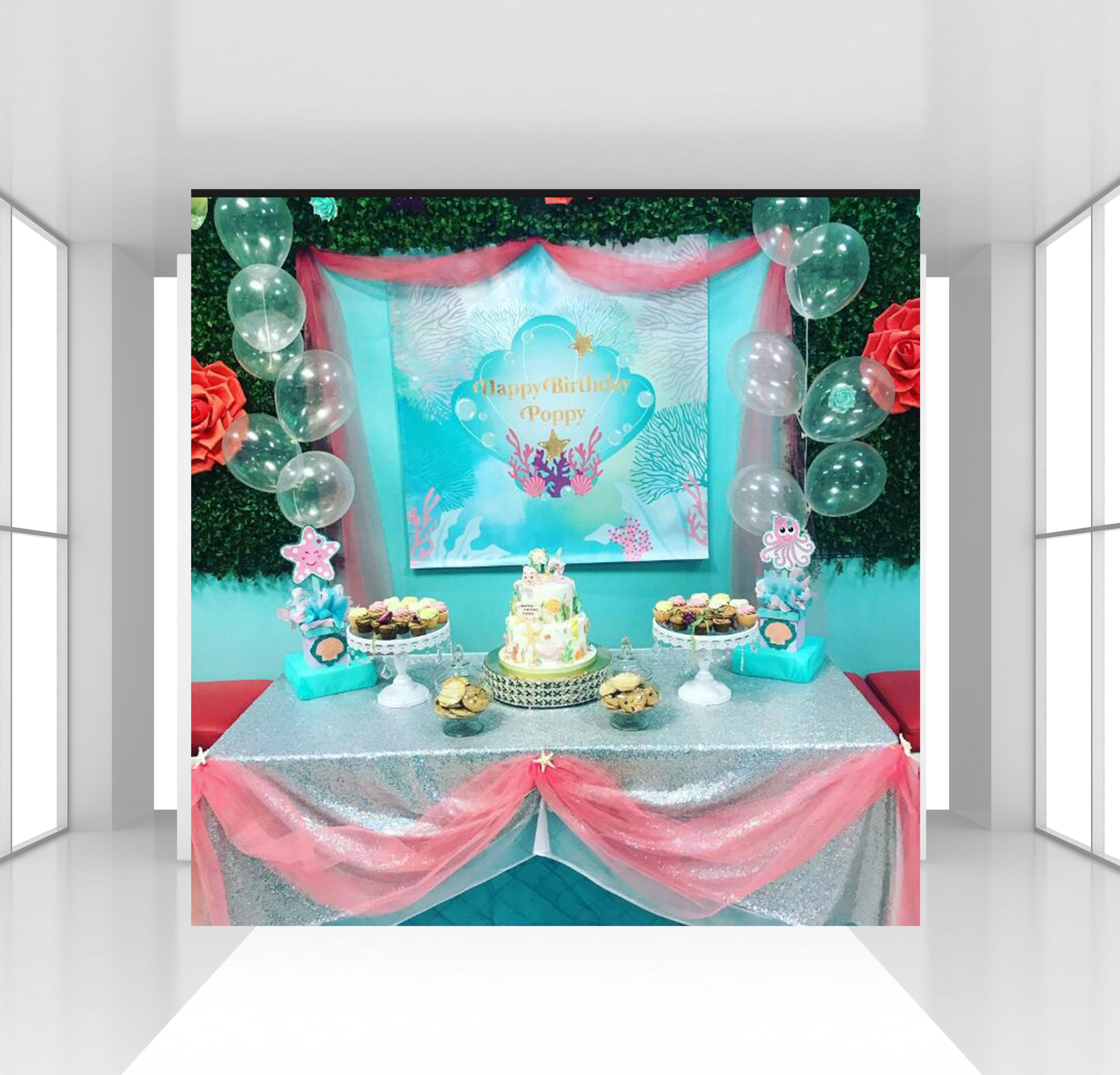 HUAYI personnalisé enfants sirène anniversaire toile de fond sous-marine océan Aquarium thème photographie toile de fond décor de fête