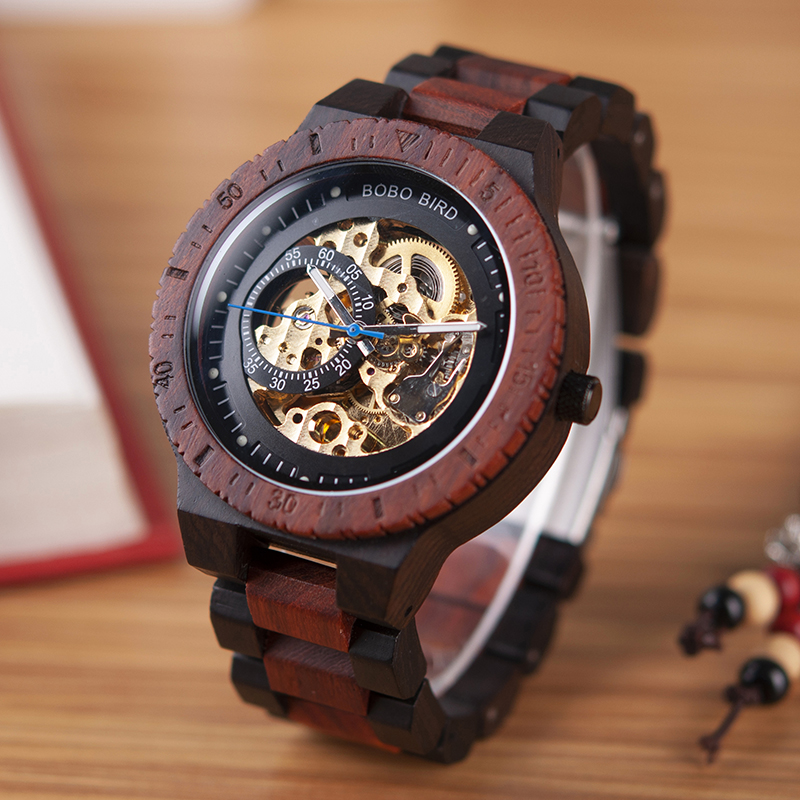 BOBO BIRD Automatic Mechanical Wooden Watches Men Wristwatch Waterproof Male forsining in Wood Box masculino Watch