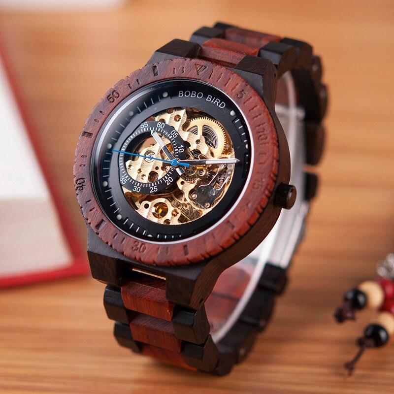 Бобо птица деревянные часы Для мужчин автоматические механические наручные часы Водонепроницаемый мужской forsining в подарок деревянная коро...