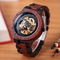 BOBO BIRD Automatic Mechanical Wooden Watches Men Wristwatch Waterproof Male forsining in Gift Wood Box masculino watch