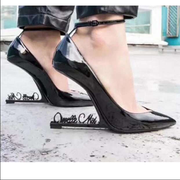 Femme Cheville Noir Partie Cuir Robe Chaussures Sangle Zapatos Show Bout Pointu En Show Mariage Haute Talons Hauts Mujer Verni As as Pompes De Étrange 5LAR4jq3