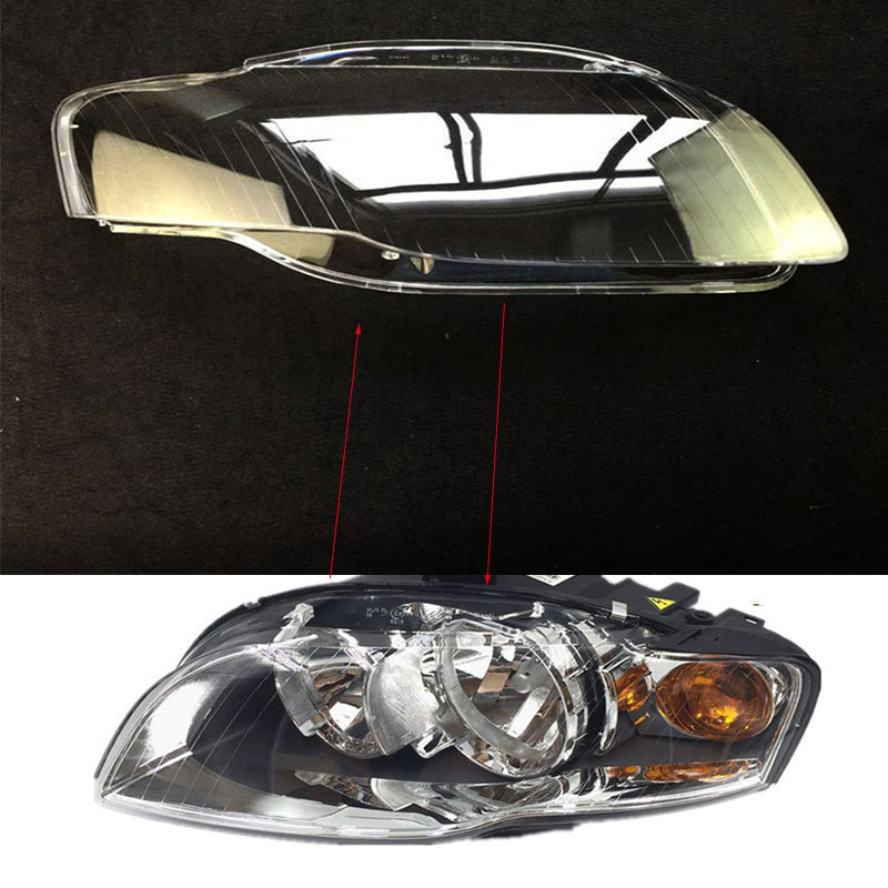 2 pcs For audi A4 B7 2006 2007 Front headlights headlights glass mask lamp cover transparent