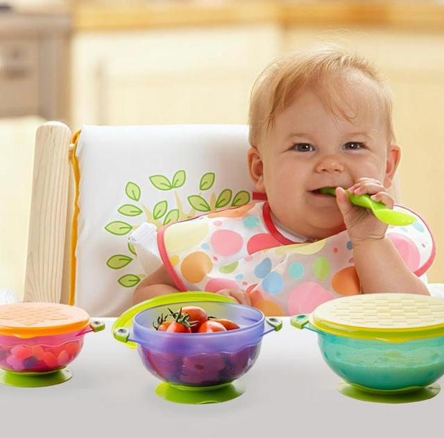 Novo estilo bebê sólidos alimentação acessórios não slip ventosa aprendizagem pratos de comida tigela formação com tampa 3 pcs = 1 conjunto