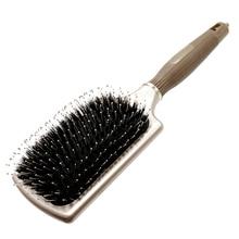 Cepillo de paleta de cerdas de jabalí cuadrado de oro de alta calidad Desenredar masaje antiestático Cepillo de pelo de cuero cabelludo con cola en tamaño grande