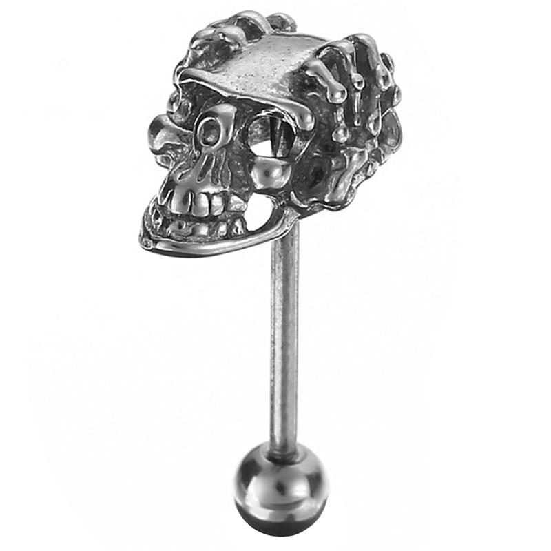 1 Pc Edelstahl Gefälschte Piercing Zunge Piercing Chirurgische Ringe Barbell Schädel Schmuck Langue Industrie Bar Neueste Mode