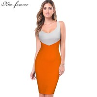 Nice Forever Stylish Patchwork Casual Women Sexy Sleeveless Lateral Zip Plus Illusion Sheath Bodycon Pencil Office