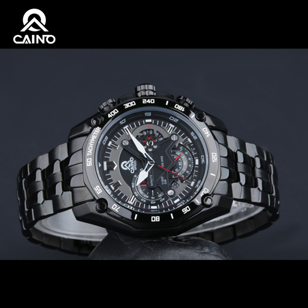 CAINO Fashion Watches Men Watch Sports Stainless Steel 2016 Highest Business Dress Casual Sports Luminous Waterproof
