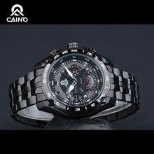 CAINO Moda Relojes Vestido de Los Hombres Reloj Deportivo de Acero Inoxidable de 2016 Más Alto de Negocios Ocasional de Los Deportes Luminosa Resistente Al Agua 100 m