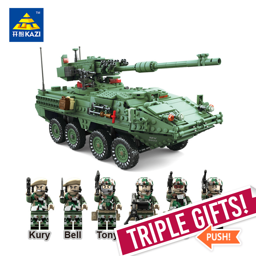 KAZI 10001 Century Military MGS-M1128 TANKS Building blocks Armored vehicles DIY Bricks Education Toys for Children
