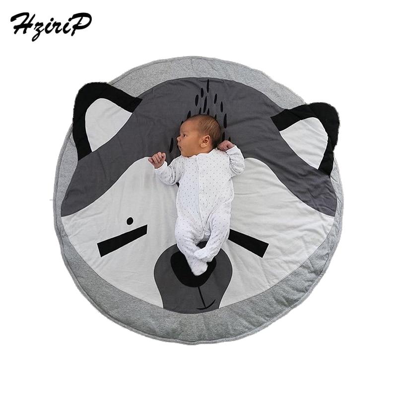 Hzirip Newest Infant Newborn Play Game Mats Round Carpet Rugs Mat Cartoon Animal Cotton Crawling Carpet Gym Activity Kids Gifts