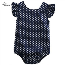 Pudcoco Baby Boys Girls Fashion Clothes 1 piece Dot Cotton Blend Blue Baby Boys Girls Sleeveless O-Neck Bodysuit