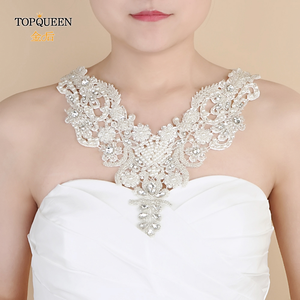 TOPQUEEN G02  Luxury Crystal Beaded Handmade Bridal Shoulder Necklace Women Pageant Prom Shoulder Jewelry Chain Bolero Lace