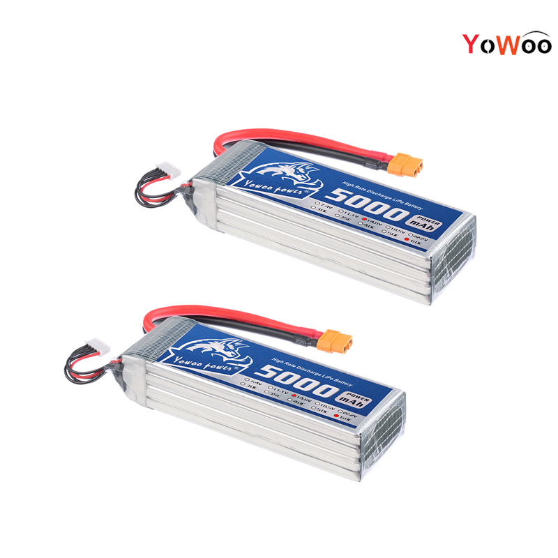 2PCS YOWOO Lipo 4s 14.8V 5000mAh 60C Max 120C Battery For RC Bateria Drone AKKU Helicopter Quadcopter Car Airplane Boat UAV FPV yowoo fpv 450 500 akku lipo battery 2s 3s 7 4v 11 1v 5000mah 50c max 100c for traxxas helicopter fpv 450 airplane quadcopter car
