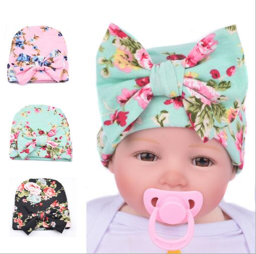 2017 New Hospital Newborn Hat Baby Girl Beanie With Big Bowknot Newborn Knit Infant Flower Hipster Caps Baby Toddler Hat
