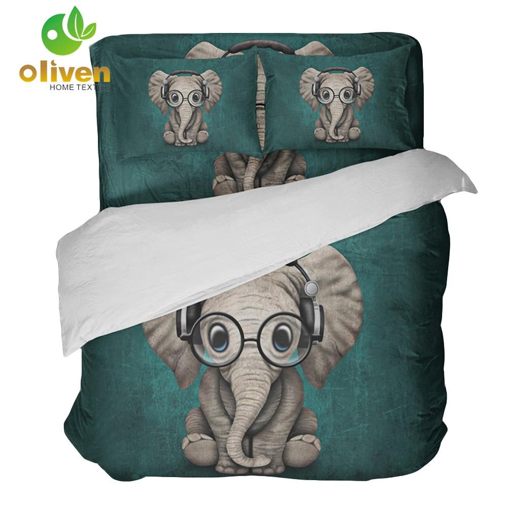 Cute Elephant Cartoon Print Bedding Set Boho Kids Child Duvet Cover Set Pillowcase Luxury Bedroom Bedclothes bed cover 3Pcs B45