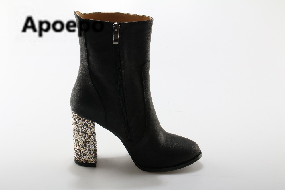 Apoepo Luxury Crystal Chunky Heel Women Point Toe Ankle Boots Embossed Suede Leather Ladies High Heel Boots Elegant Female Boots universe pearl decorated elegant women ankle boots black suede leather chunky heel dress boots g404