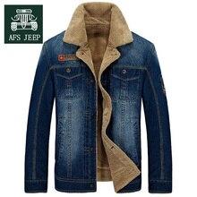 New Warm Denim Jackets Mens Jeans Coats Winter Jackets Brand AFS JEEP Thicken Denim Coat Men Outwear M~4XL