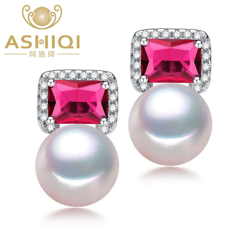 ASHIQI Real 925 Sterling Silver earrings Freshwater Pearl Stud Earrings For Women Natural pearl Jewelry Red Crystal