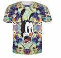 2016 3D t shirt  homme Printed Mickey  Skeleton 3D Printed Short Sleeve Tops Tshirts Men Women Free Shipping