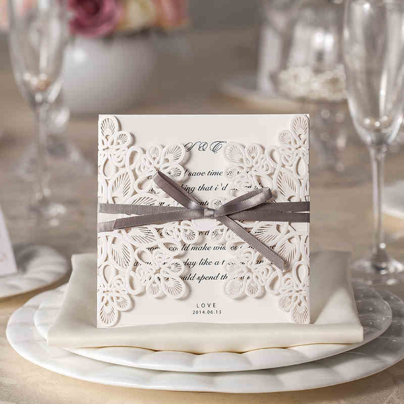 50pcs/lot Customized and Printing laser Wedding Invitation card envelop and free seal white lace party invitations card