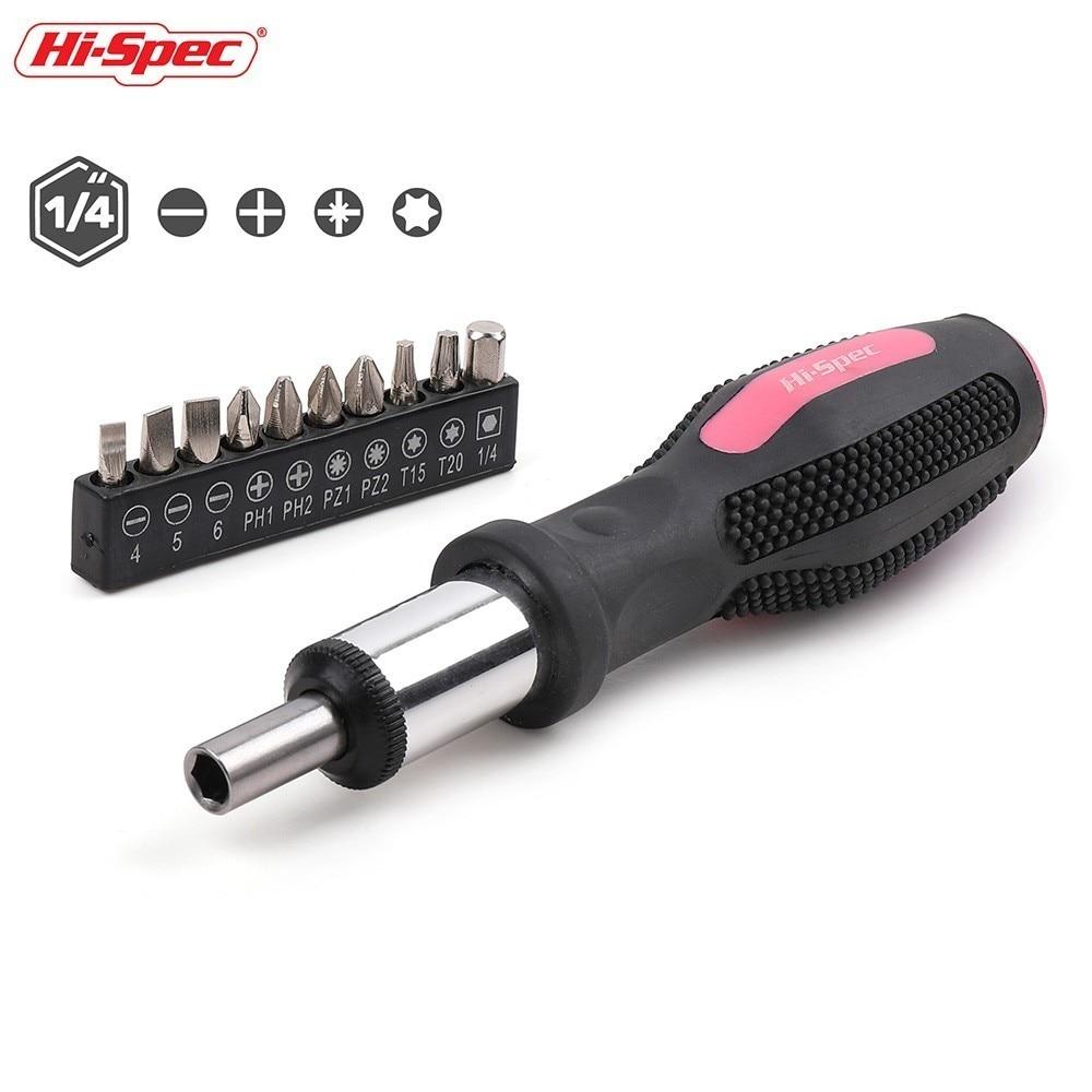 Hi-Spec 11pc Pink Ratchet Screwdriver Bit Set Slotted Phillips Torx Cr-V Steel Ratchet Screwdriver Multi Bits Sets Pink Tool Set