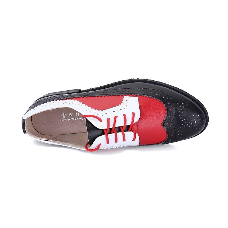 Pink Chaussures Vintage Style ab Red De Femme Richelieu 2019 White Véritable Femmes En Découpes Oxford Britannique Cuir Rétro Casual Black Plates Pour fvwTqYw