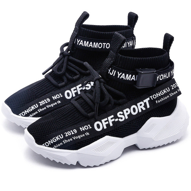 Bakkotie 2019 Kids New High Sneakers Boys Autumn Black Soft Casual Shoes Baby Girls Fashion Breathable Slip On Sports Shoes 1