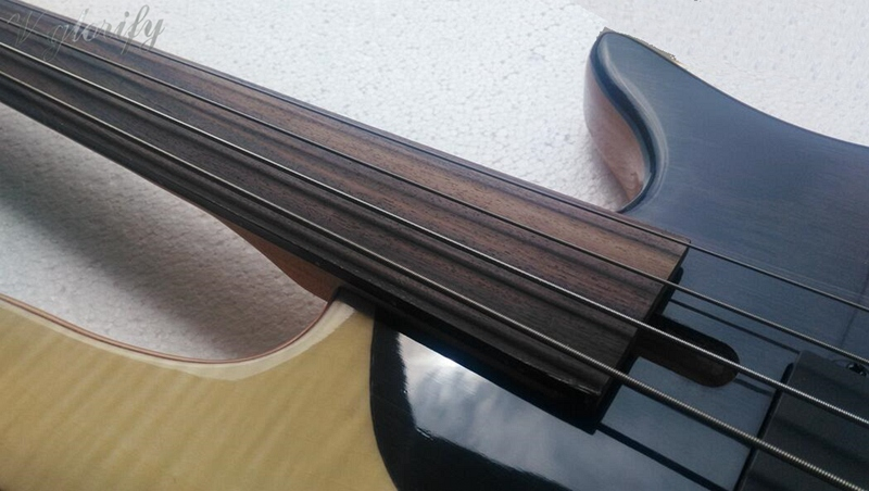 FLAME MAPLE MIX WITH ROSEWOOD body Foderaa Active 4 string fretless bass guitar bugatti eva