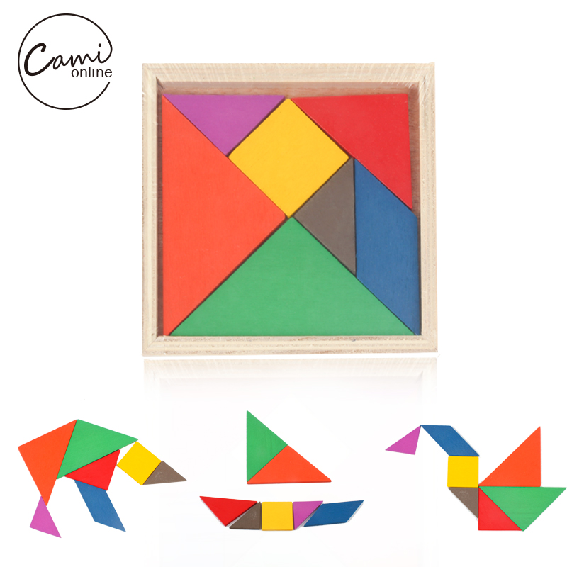 New Children Mental Intelligence Development Tangram Geometric Wooden Toy Classic Jigsaw Puzzle Kids Preschool Educational Toys english alphabet jigsaw kids wooden educational toys for children baby intelligence joueie pour enfants toys toy 3d puzzle