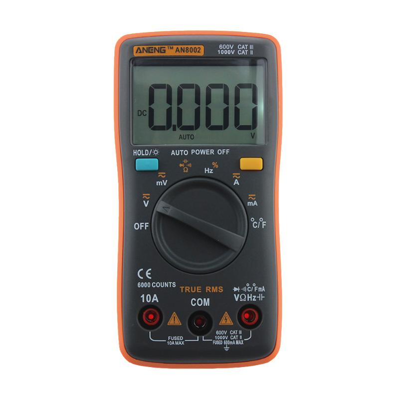 ANENG 8002 Digital Multimeter 6000 Counts Backlight AC/DC Ammeter Voltmeter Ohm Portable Meter Tester Diagnostic Tool все цены