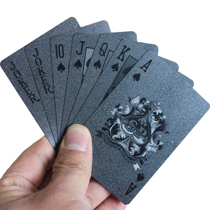 Waterproof Black Plastic 3D Embossing Poker Cards PET Materia Advanced Plastic Playing Cards Good Gift for Collection
