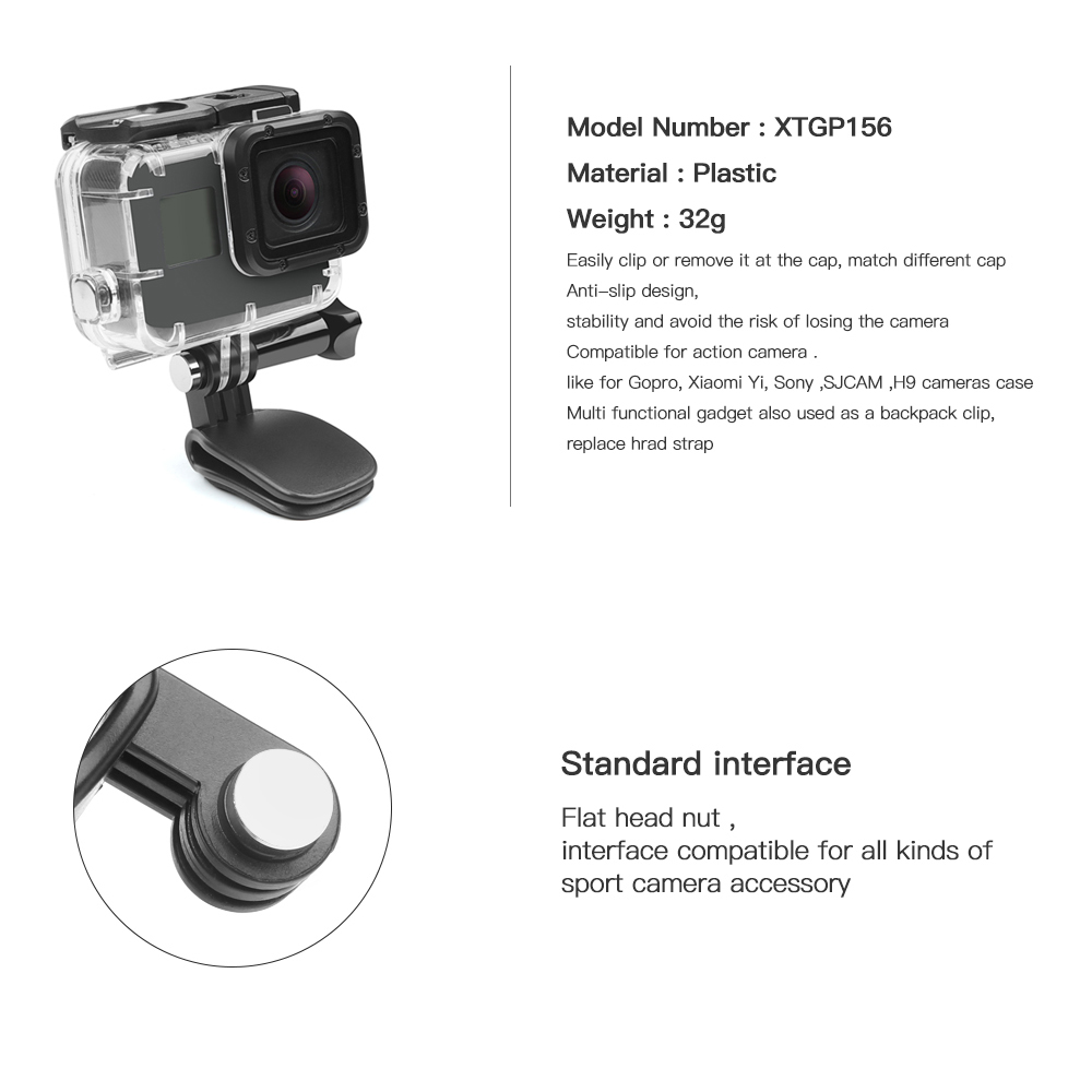 SHOOT Mini Action Camera Hat Clip Mount for GoPro Hero 7 5 6 Session SJCAM SJ4000 SJ5000 SJ7 Star Yi 4K Lite H9 Go Pro Accessory in Sports Camcorder Cases from Consumer Electronics