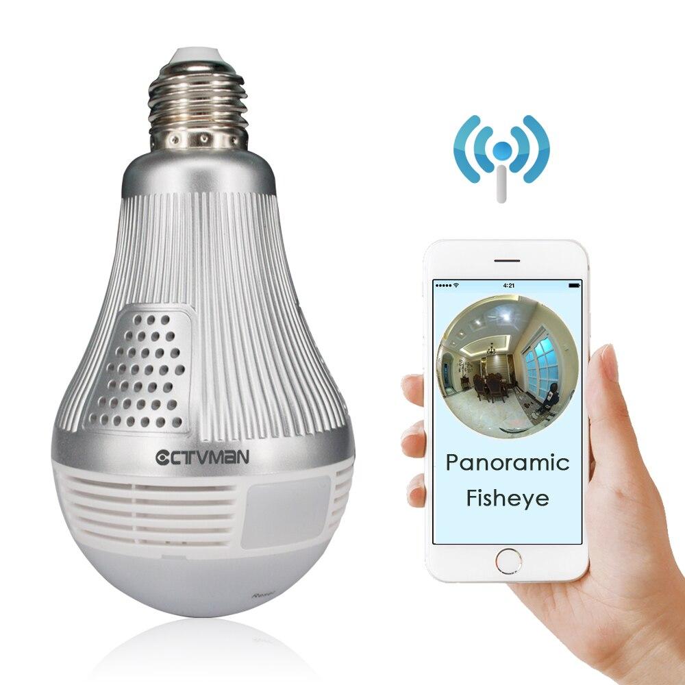 Ctvman wifi 360 câmera ip bulbo câmeras de vídeo cctv fisheye andriod ios segurança sem fio do bebê 960 p 1080 p 3mp 5mp panorâmica cam
