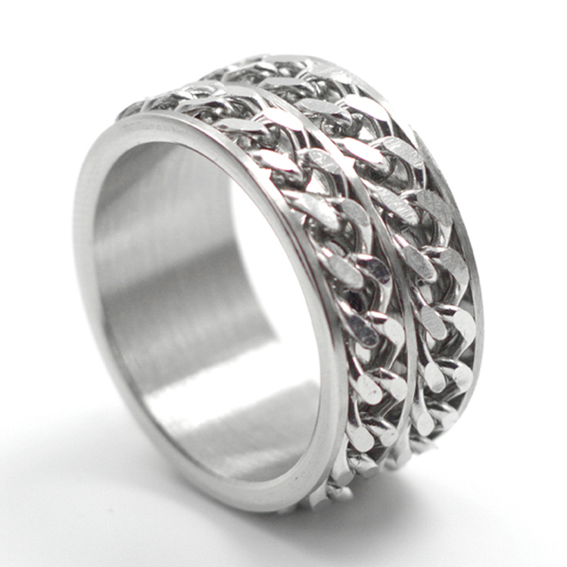 Free Shipping Wide 12mm Anium Steel Men Ring Double Chain Finger Rotating Non Mainstream