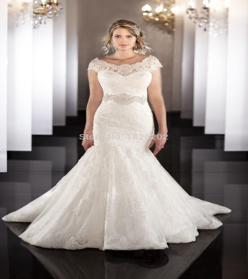 Elegant Lace Sleeve Short Wedding Dresses 2016 Scoop Neck: Aliexpress.com : Buy Sexy 2016 Plus Size Mermaid Wedding