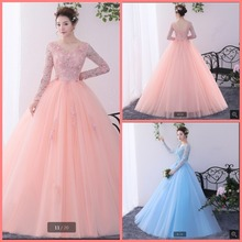 SUNTINGTING ball gown pink prom dress long sleeve