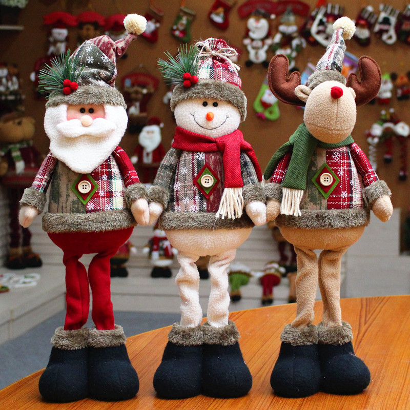 Christmas Tree Decor New Year Ornament Reindeer Snowman Santa Claus Standing Doll Home Decoration Merry Christmas