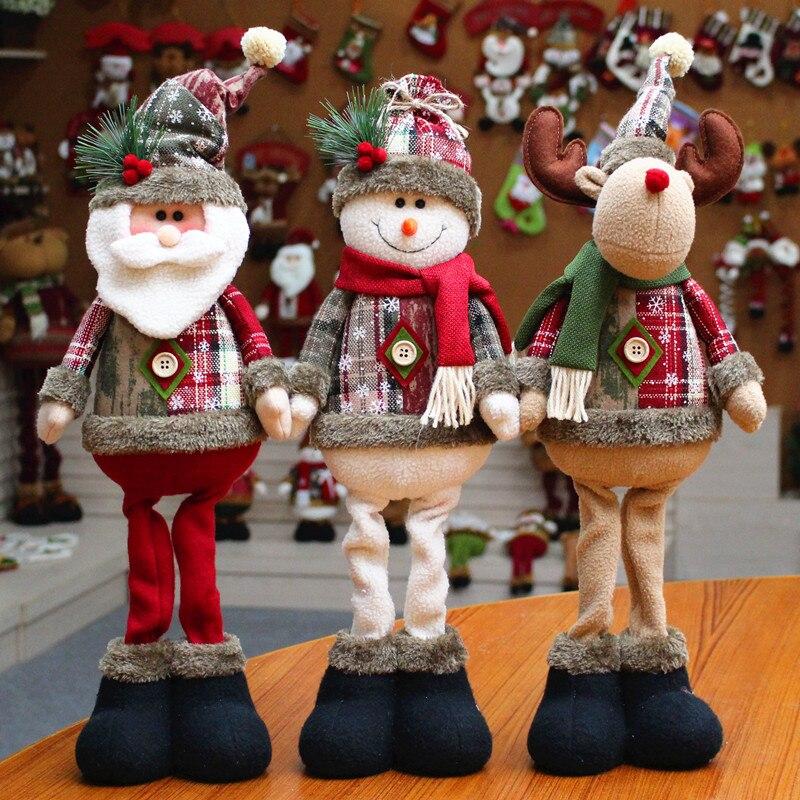 Weihnachten Baum Decor Neue Jahr Ornament Rentier Schneemann Santa Claus Stehend Puppe Dekoration Frohe Weihnachten Höhe 48 cm