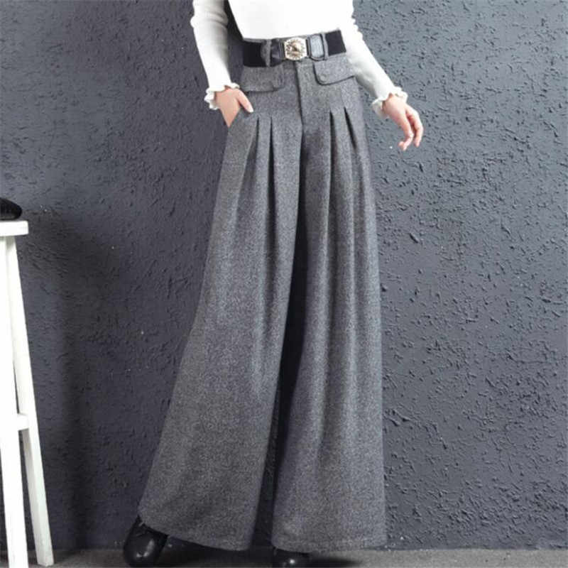 2019 New Winter Fashion Wool Pants Women'S High Waist Long Trousers Thicken Full Length Wide Leg Pants Plus Size S-4Xl A3948