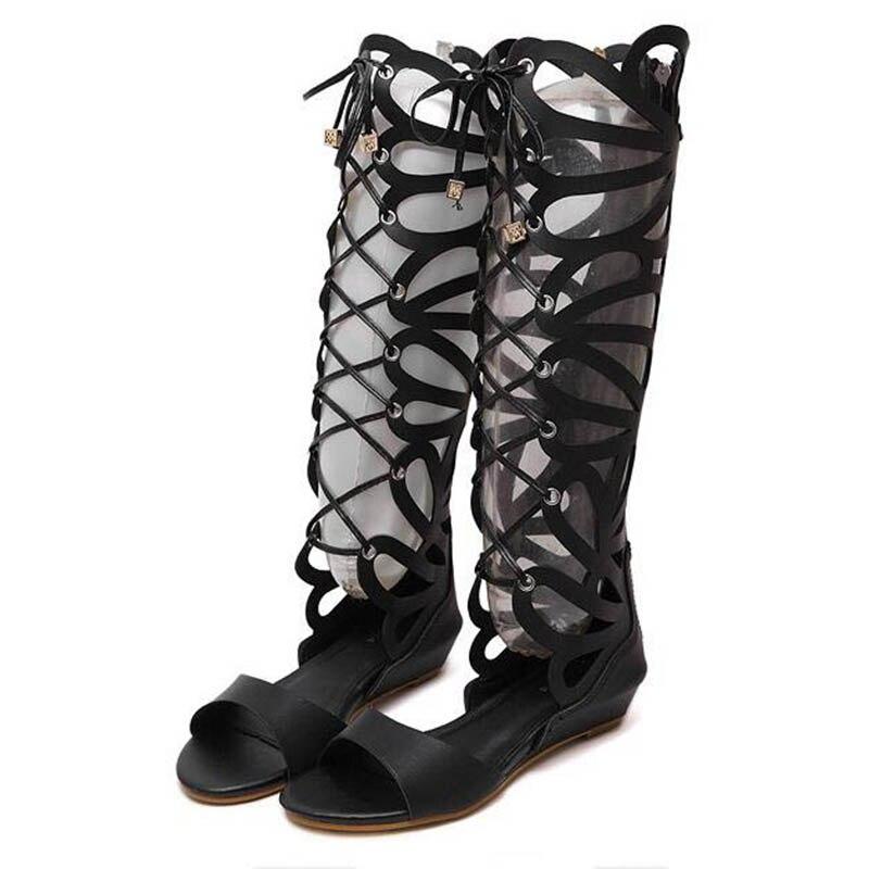 Coin Croix Taille 40 Noir Bout Chaussures Gladiateur Britannique Ouvert À Haute or 2018 Coins Sandales Femmes Wss199 Liée Découpé Genou wOXfqU