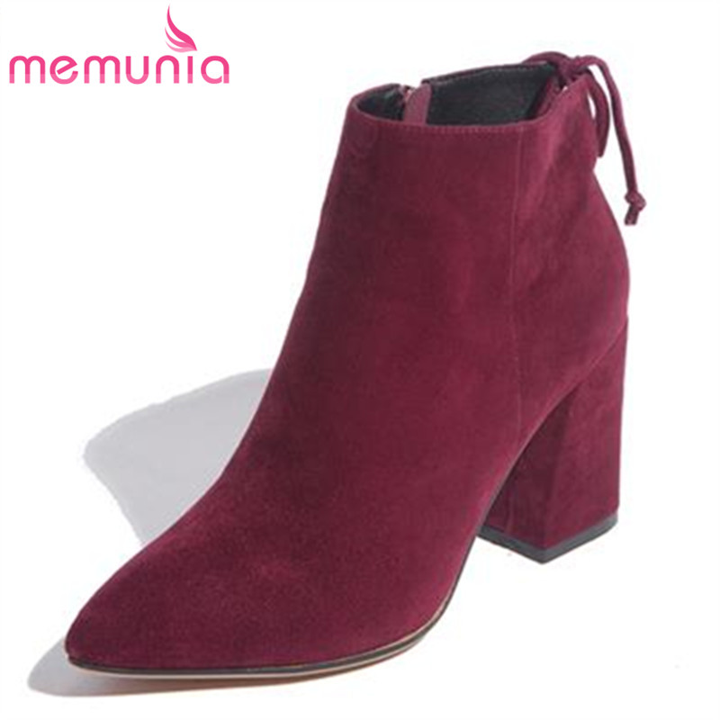 MEMUNIA pointed toe sheepskin leather 3 colors nubuck leather office ankle boots mature hot sale winter red wine women boots memunia new arrive hot sale genuine