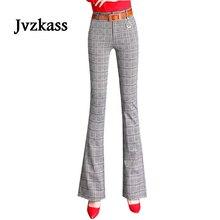 Jvzkass Womens Pants 2019 New Spring Flare Fashion Thin Plaid Trousers Korean Casual Z286