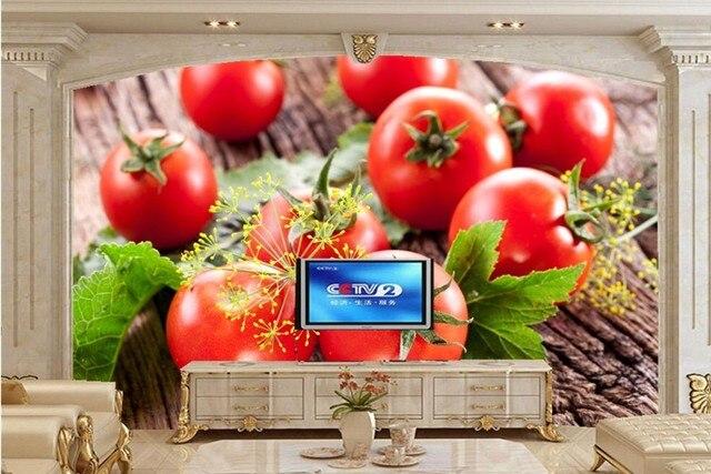 Gran 3D mural, verduras tomates eneldo alimentos papel de parede ...